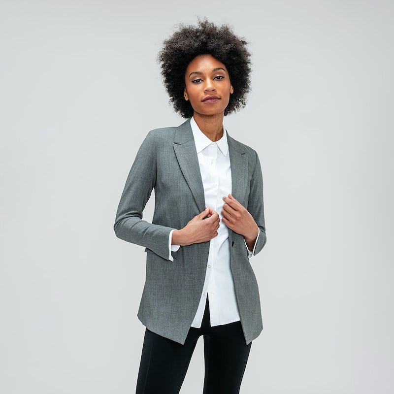 Women's White Aero Zero Shirt and Grey Velocity Blazer on model