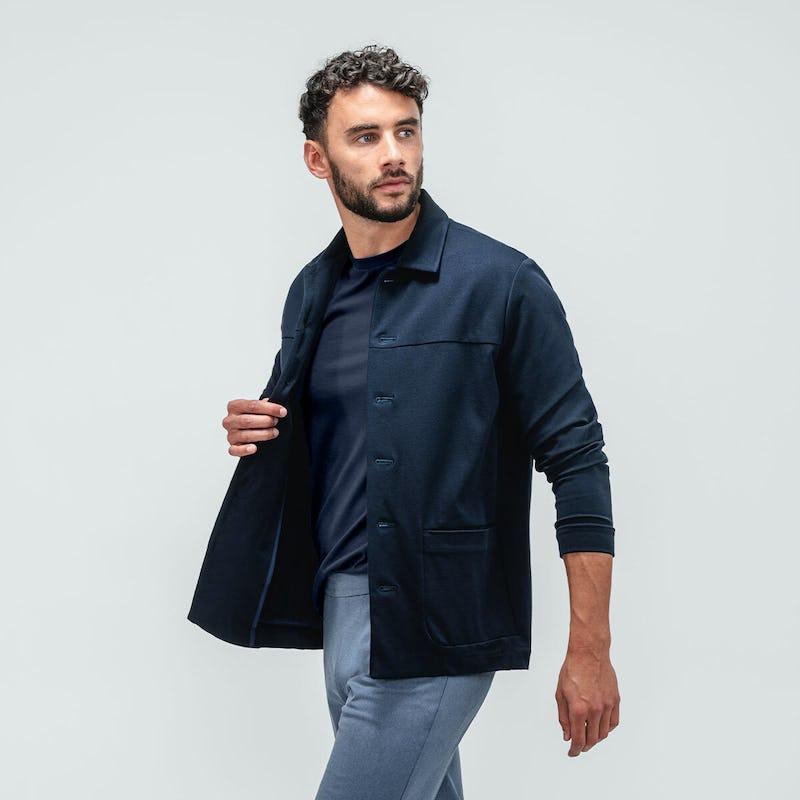 Men's Navy Composite Tee under Navy Fusion Chore Coat on model
