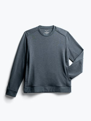 men's dark charcoal fusion terry sweatshirt flat shot of front with sleeve inserted into kangaroo pocket