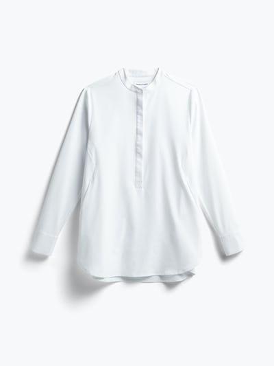 women's white aero zero band collar tunic flat shot of front