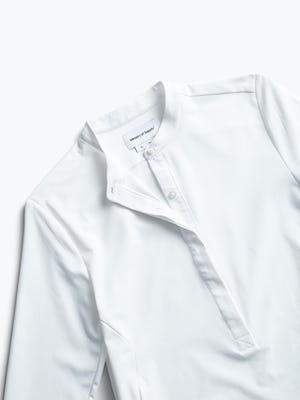 women's white aero zero band collar tunic zoomed shot of front partially buttoned