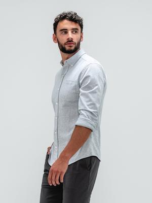 Men's Grey Stripe Hybrid Button Down on Model