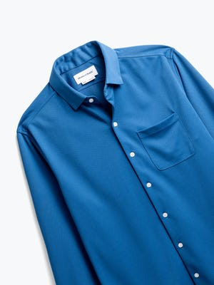men's royal blue apollo sport shirt zoomed shot of front