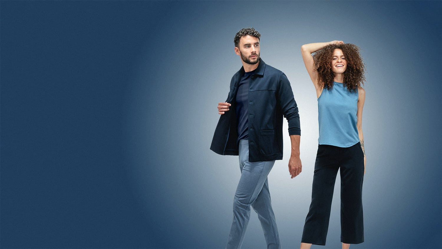 Man and woman on blue background