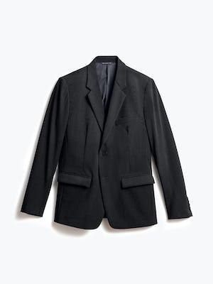 men's black wool velocity merino suit jacket flat shot of front