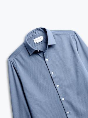 zoomed shot of men's slate blue apollo dress shirt front