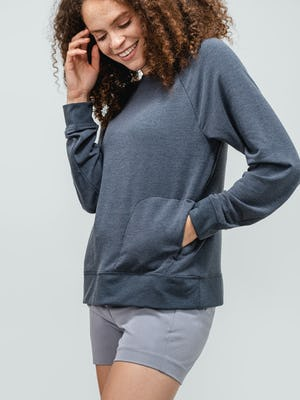 Women's Navy Fusion Terry Sweatshirt and Women's Grey Momentum Chino Short on model with hand in pocket