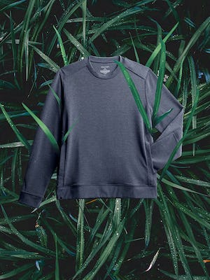 men's navy fusion terry sweatshirt flat shot of front on a bed of grass