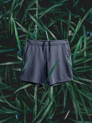 men's navy fusion terry shorts flat shot of front on a bed of grass