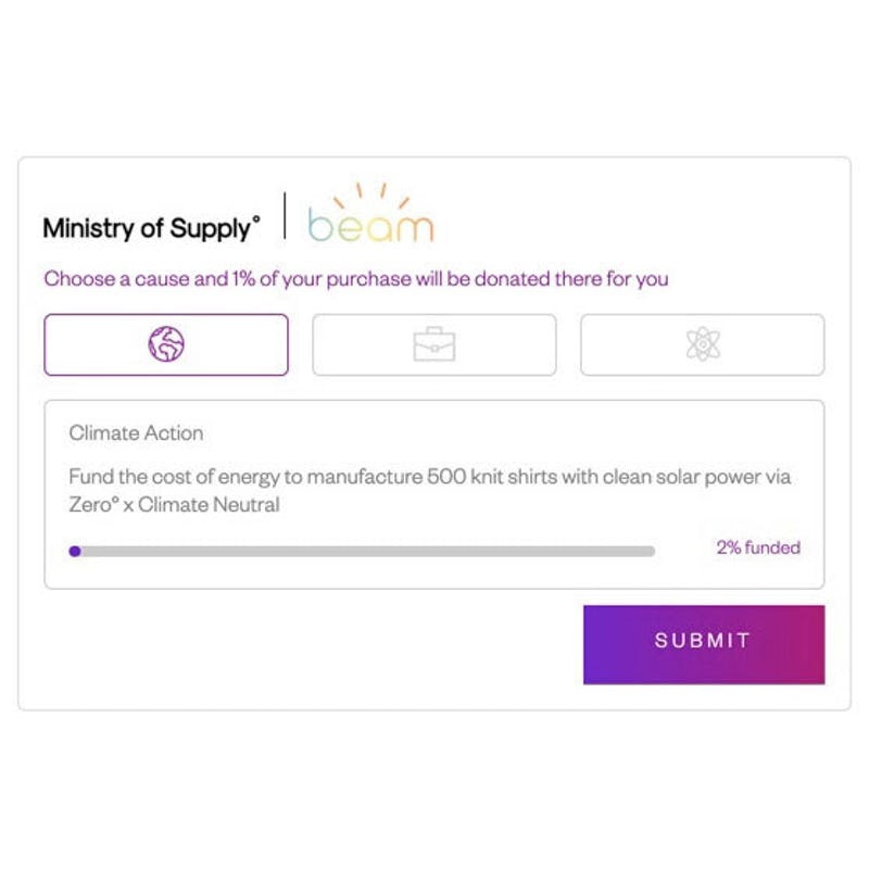 Screenshot of the Ministry of Supply checkout page