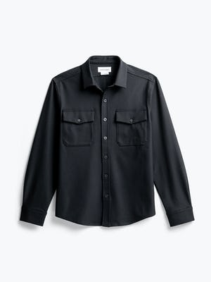 Men's Black Fusion Overshirt flat shot of front