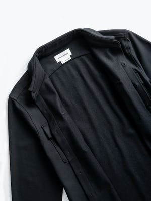 Men's Black Fusion Overshirt zoomed shot of front open and unbuttoned to show brushed interior