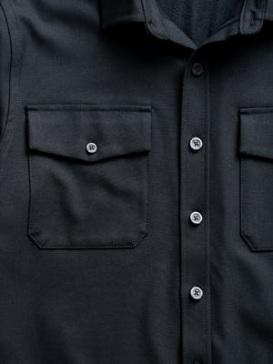 Men's Black Fusion Overshirt zoomed shot of chest pocket and button placket