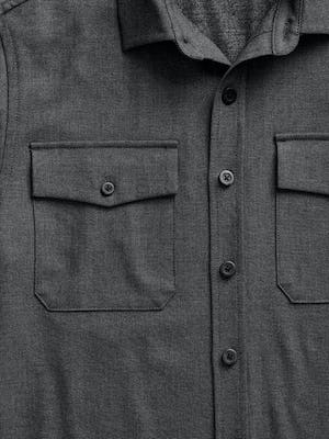 men's charcoal tweed fusion overshirt zoomed shot of chest pocket and button placket