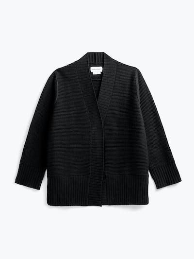 women's black composite merino cardigan flat shot of front