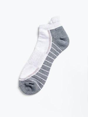 white/charcoal atlas ankle socks flat shot of sock