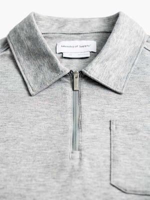 men's pale grey heather composite merino zip polo zoomed shot of collar and zipper