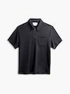 men's black composite merino zip polo flat shot of front