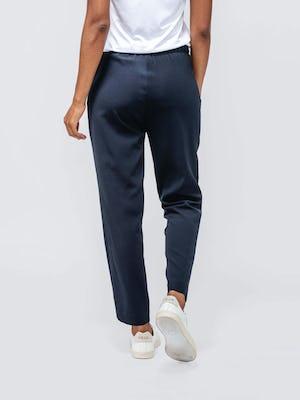 Navy Women's Swift Drape Pant on model walking back