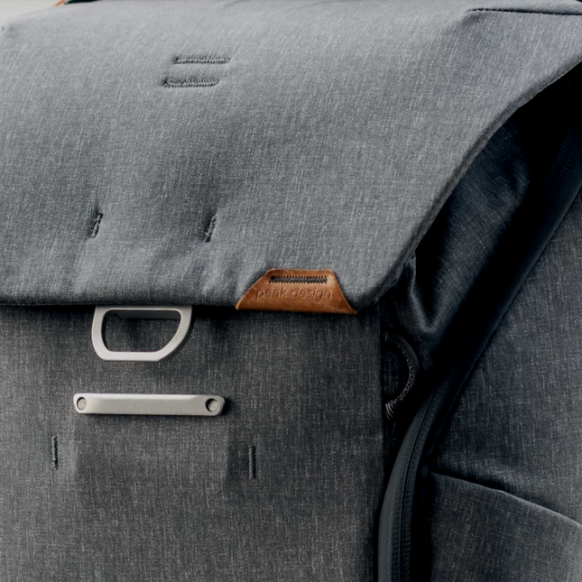 Close up shot of a grey backpack