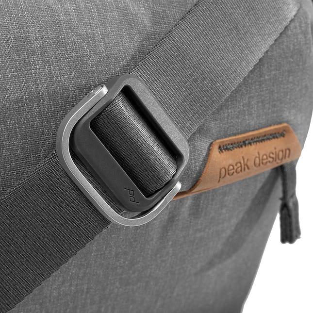 Closeup Image of a grey crossbody bag