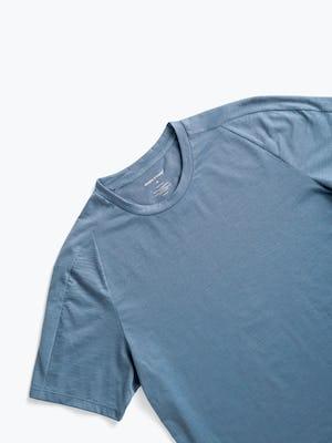 men's stone blue composite merino active tee zoomed shot of front