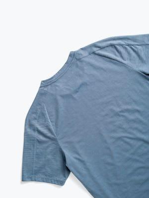 men's stone blue composite merino active tee zoomed shot of back