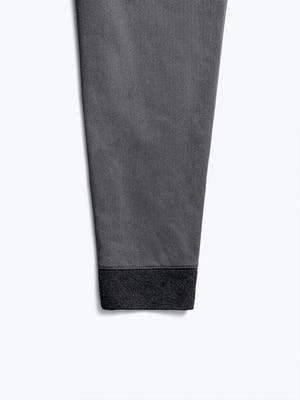 women's charcoal kinetic pull on pant close shot of ribbed back cuff