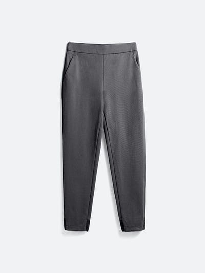 women's charcoal kinetic pull-on pant flat shot of front