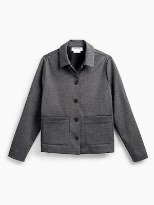 women's charcoal heather fusion chore coat flat shot of front