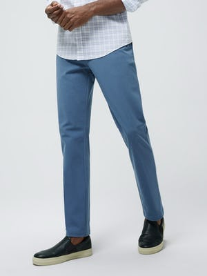 Close up of Men's Storm Blue Momentum Chino on model