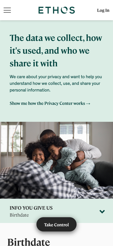Privacy Center for Ethos, at https://ethos.trsnd.co