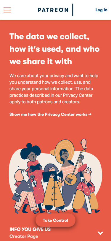 Privacy Center for Patreon, at https://privacy.patreon.com/#creator-page