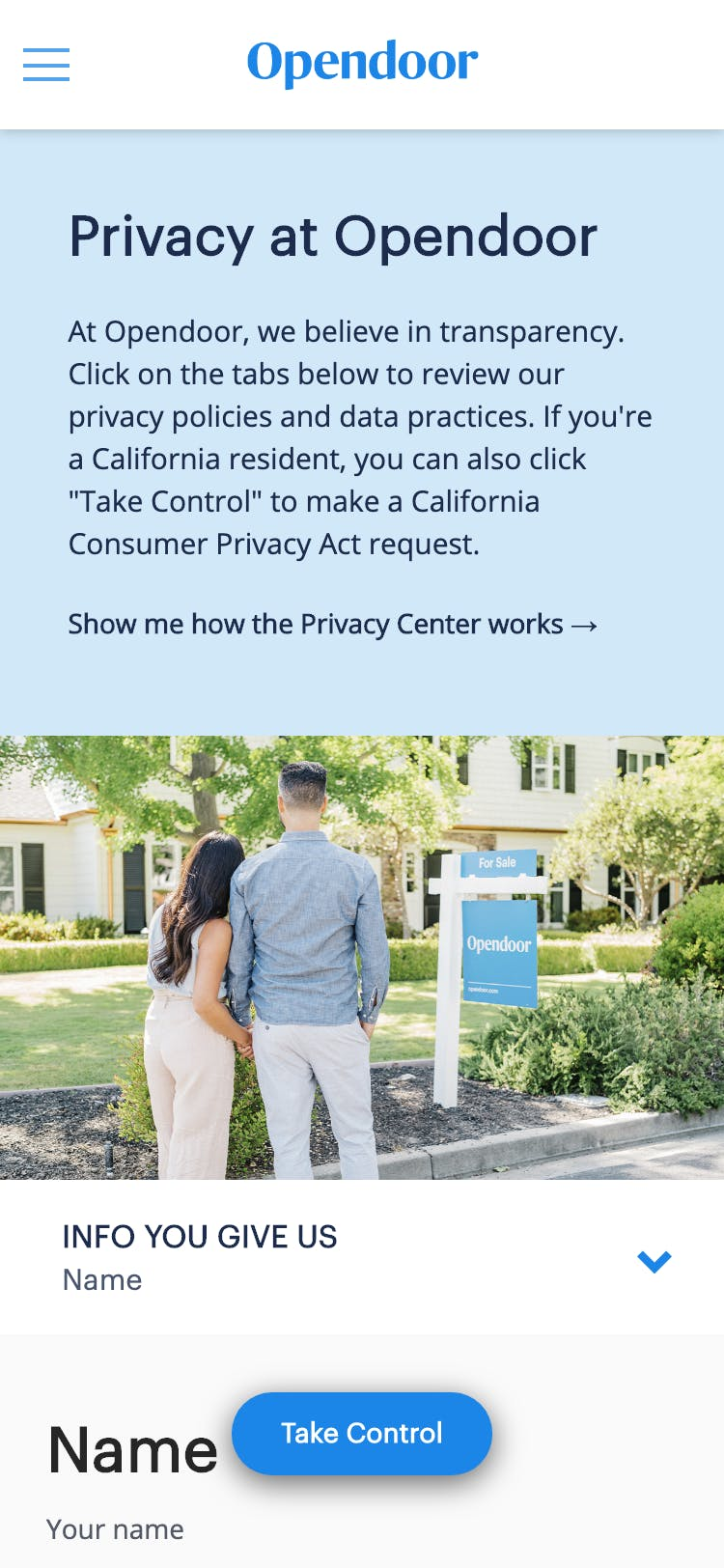 Privacy Center for Opendoor, at https://privacy.opendoor.com