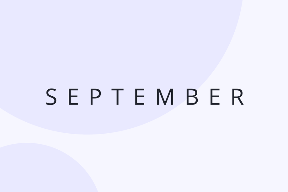 A graphic image of the word September in type.