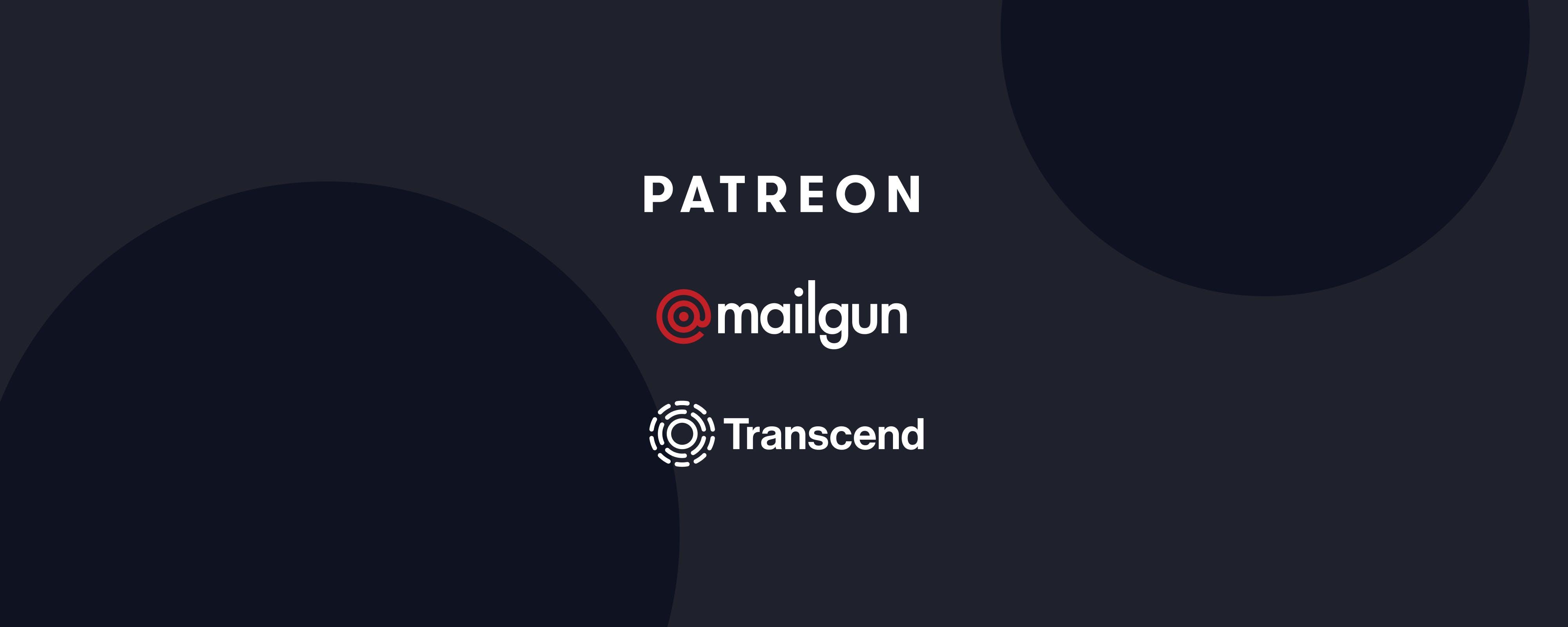 Patreon, Mailgun, Transcend logos