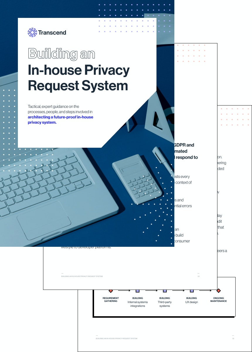 A mock of three pages of a PDF guide on building a privacy system.