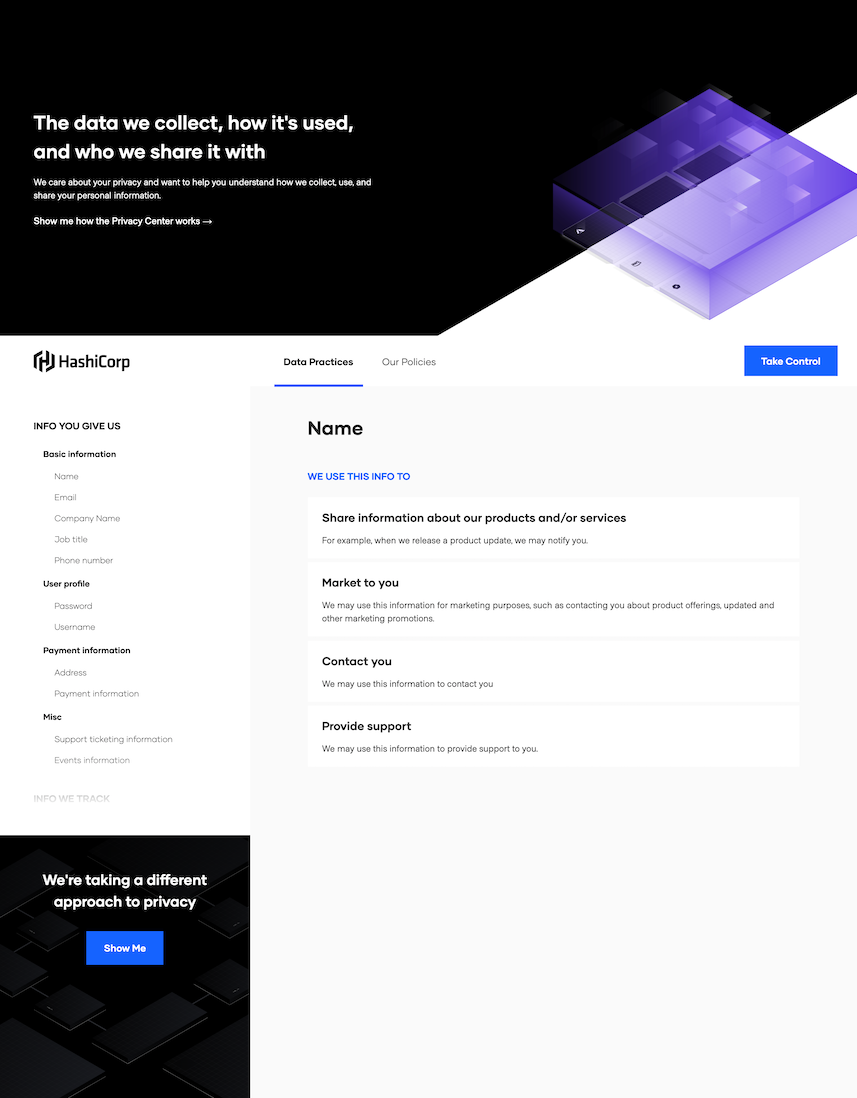 Privacy Center for HashiCorp, at https://privacy.hashicorp.com