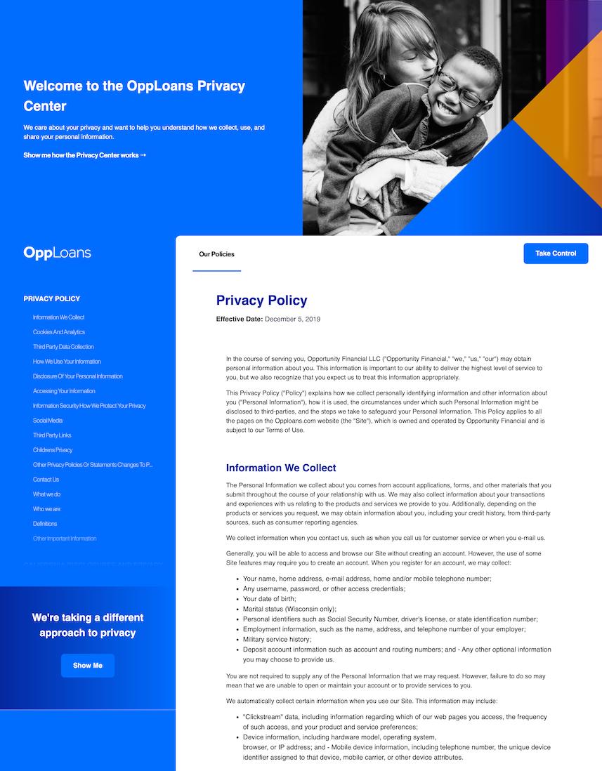 Privacy Center for OppLoans, at https://privacy.opploans.com