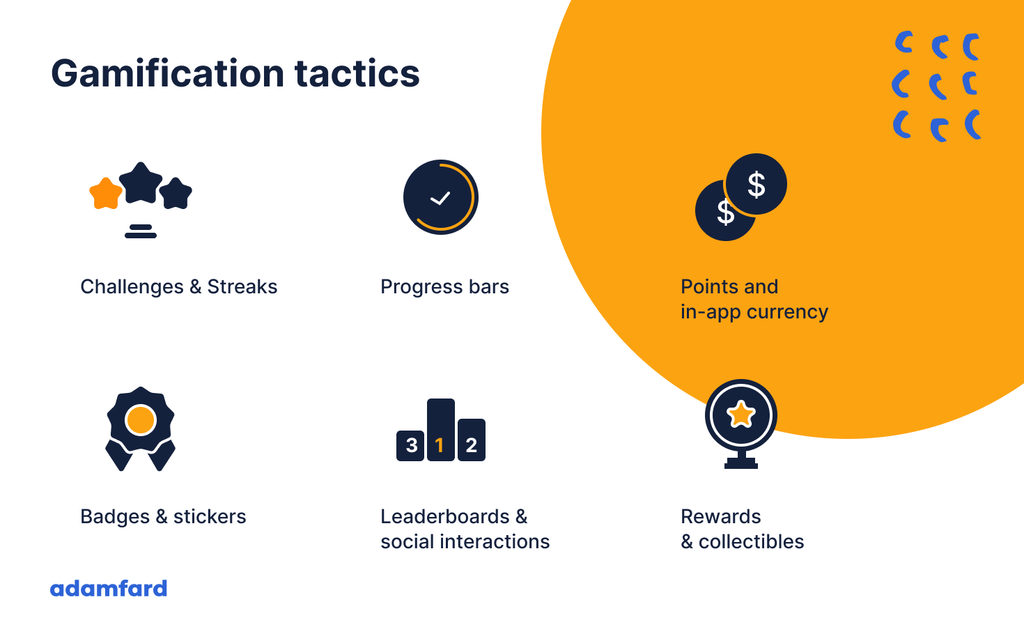 gamification tactics that include challenges & streaks, progress bars, points, badges, rewards and collectibles
