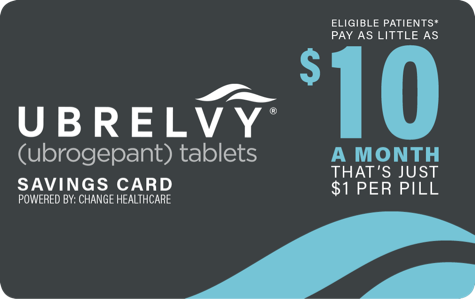 An image of the UBRELVY savings card