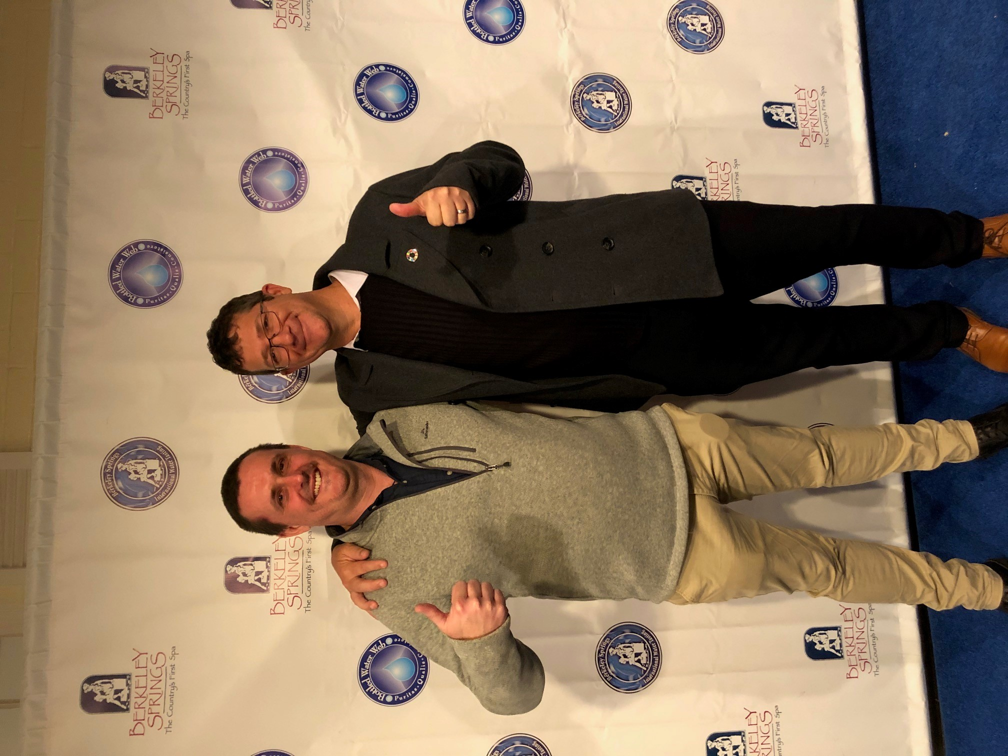 Council's Director Engineering and Commercial Infrastructure Jason Devitt and Water Treatment manager Stuart Boyd were all smiles after Mackay water was named second-best in the world at the Berkeley Springs International Water Tasting Competition.
