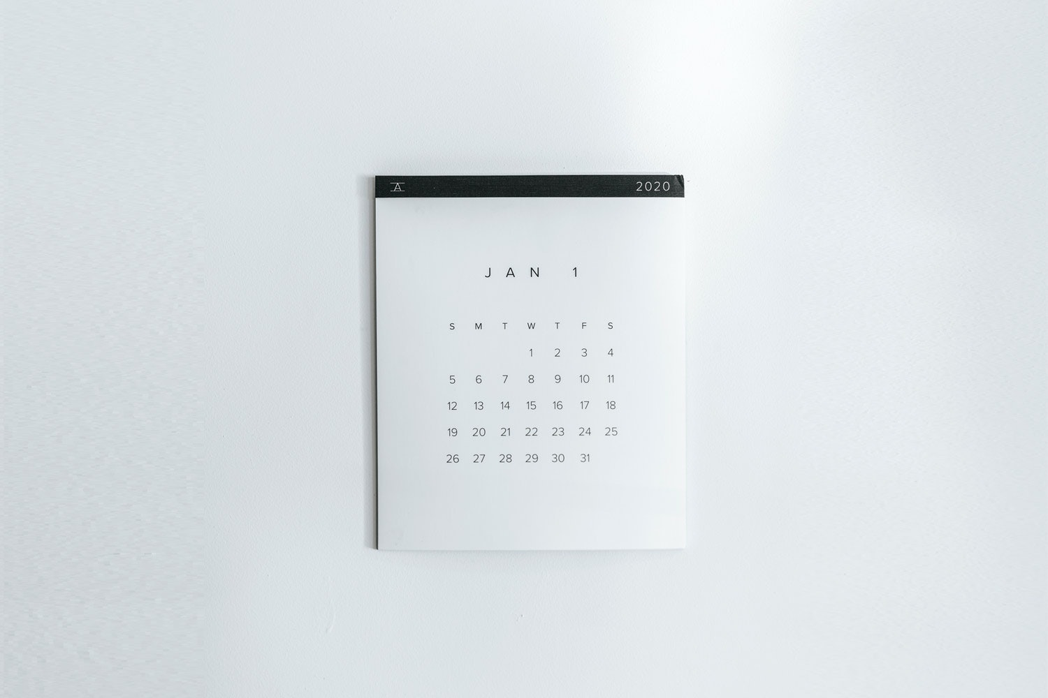 Calendar showing month of January