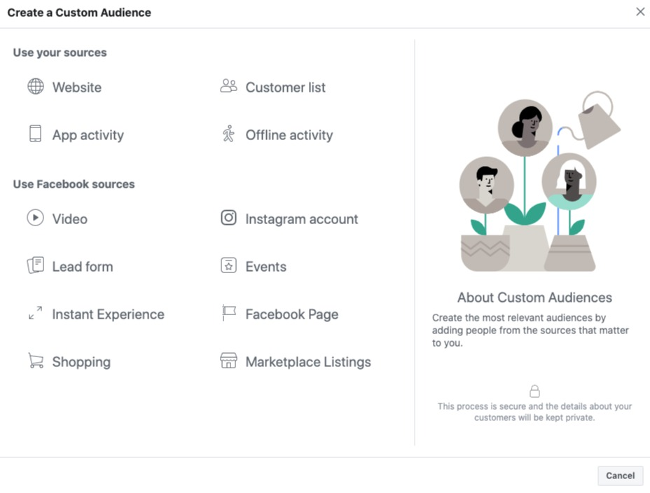 Facebook Ads Manager: Create a Custom Audience