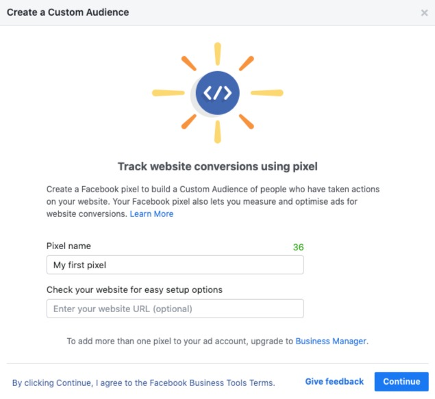 Facebook Ads Manager: Track website conversions using pixel