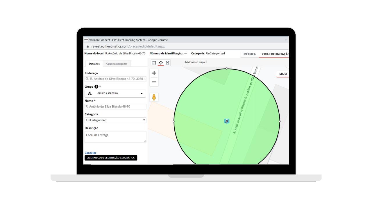Funcionalidade Delimitações Geográficas da plataforma de gestão de frotas Verizon Connect Reveal