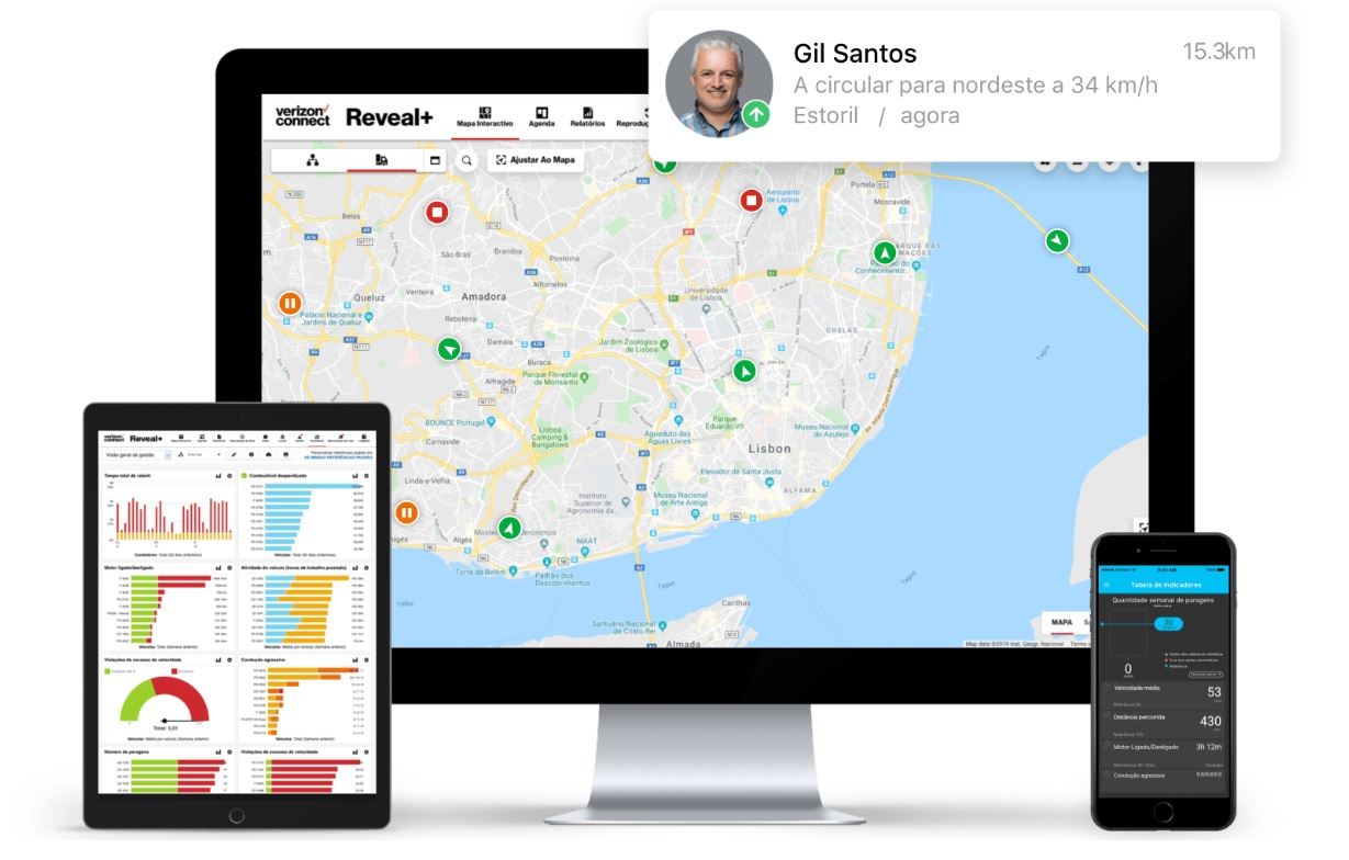 Funcionalidade Mapa Interativo da solução de gestão de frotas do Verizon Connect Reveal