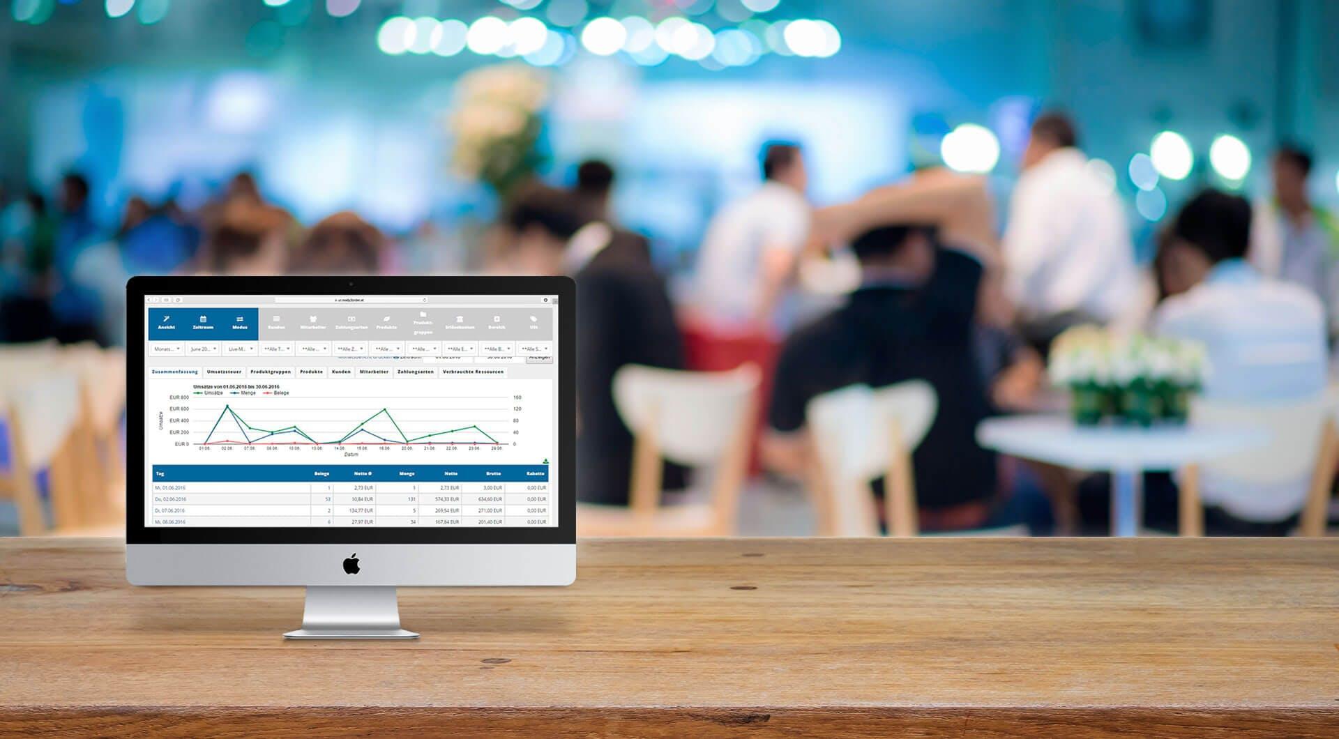 User-Interface von ready2order auf Mac