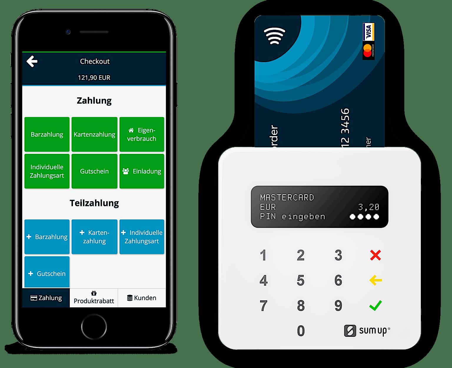 Mobiler Zahlungsterminal von SumUp neben Smartphone