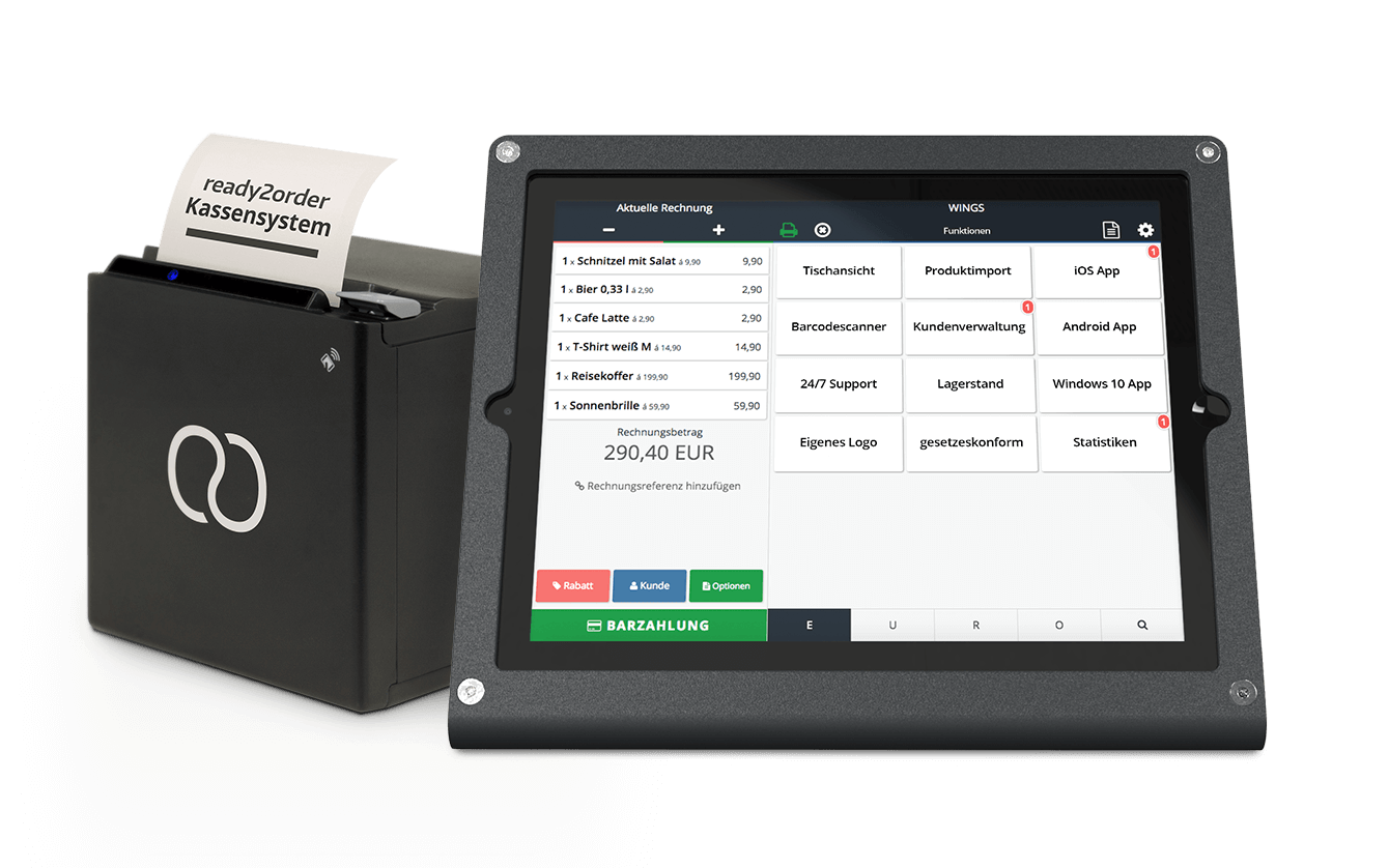 User-Interface auf ready2order Tablet neben Drucker